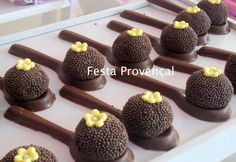 Colher de chocolate How To Make Chocolate, Homemade Chocolate, Chocolate Recipes, Fancy Desserts, Delicious Desserts, Mini Cakes, Cupcake Cakes, Sweet Party, Cake Pops