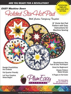 EASY Machine Sewn Folded Star Hot Pad PATTERN by quiltingbydeborah, $10.50