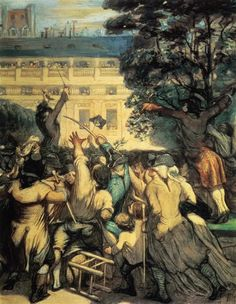 Camille Desmoulins in the Palais Royal by Honore Daumier. Realism. genre painting