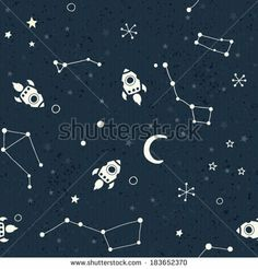 Seamless space pattern. Planets, rockets and stars. Cartoon spaceship icons. Kid's elements for scrap-booking. Childish background. Hand dra...