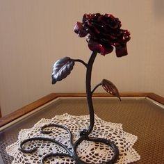 Hand Forged Metal Rose Sculpture by Richard Prazen