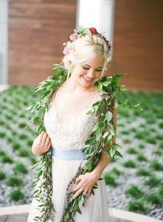 Andrea Layne Floral Design - Hair Flowers and garland scarf from Styled Shoot - Finding Foreverland at Coachella - Peter Pan Inspiration.