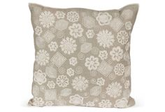 Linen Pillow w/ Geometric Embroidery