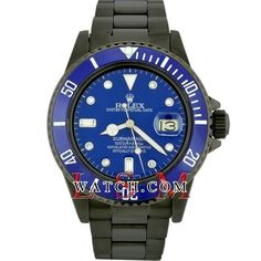 Rolex Men's Steel PVD-DLC Blue Diamond SUBMARINER 16610 Oyster Watch - Used #Rolex #Casual