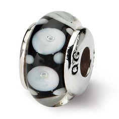Sterling Silver Reflections Kids Black Hand-blown Glass Bead QRS991 Size: 11.82 x 6.36 mm QRS991