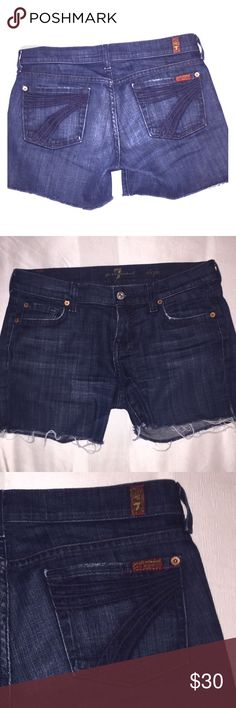 7 for all Mankind dark denim cut offs 100% authentic seven for all mankind dark denim cut offs.  Great condition.  Super fun and cute. 7 For All Mankind Shorts Jean Shorts