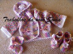 Trabalhos da vovó Sônia: Conjunto para bebê Bambino multicor - crochê