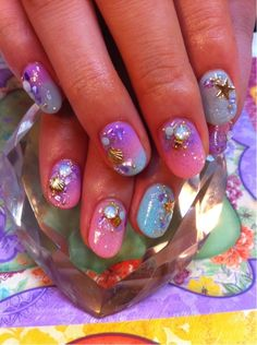 90s bubble gum mermaid gel nails