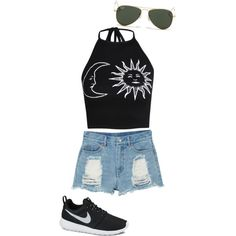 My kind of summer by galierodz on Polyvore featuring polyvore, fashion, style, Boohoo, Monki, NIKE and Ray-Ban