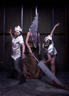 """Halloween @STEIN The girls from our art division recreated a scene from the movie """"Silent Hill"""". #halloween #silenthill"""