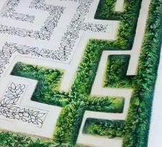 Labirinto jardim secreto folhas