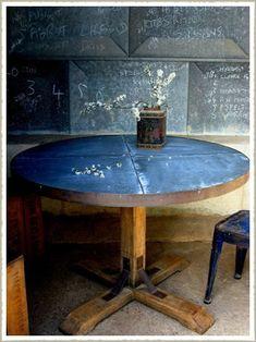 Aged Oak Zinc Topped Pedestal Dining Table, Made to Measure Large Round Dining Table, Pedestal Dining Table, Dining Room Table, Fine Dining, Dining Area, Reclaimed Furniture, Vintage Industrial Furniture, Industrial Table, Industrial Design