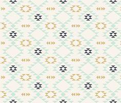 Navajo - Off White Mint Gold fabric by kimsa on Spoonflower - custom fabric