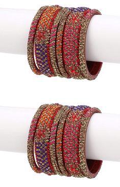 Bridal Stone Bangle Sets Bridal Bangles, Bridal Jewelry, Women's Jewelry, Gold Earrings Designs, Gold Jewellery Design, Chuda Bangles, Hyderabadi Jewelry, Silk Thread Bangles Design, Bangle Set