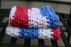 Red White & Blue Washcloth / Dishcloth Set of 2 by AMedleyofJen, $6.00