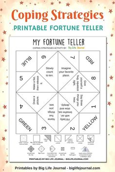 Teacher Discover 7 Effective Ways to Help Children Overcome Social Anxiety Free printable fortune teller activity. Includes coping strategies for children to overcome social anxiety. Coping Skills Activities, Anxiety Activities, Counseling Activities, Art Therapy Activities, Mindfulness Activities, Coping Skills For Anxiety, Social Work Activities, Group Activities For Adults, Anger Management Activities For Kids