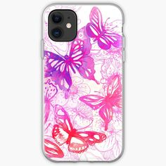 'Pink butterflies' iPhone Case by knovadesign Butterfly Watercolor, Pink Butterfly, Butterflies, Iphone Wallet, Iphone 11, Iphone Case Covers, My Arts, Art Prints, Type