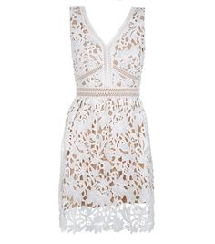 Petite White Lace Ladder Trim Skater Dress  | New Look