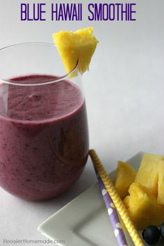 Easy Fruit Smoothie Recipe - The super combination of blueberries and pineapple will make you feel like a kid again! Pin to your Recipe Board!
