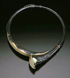 rigid, bonelike neckpiece sterling opal and gold