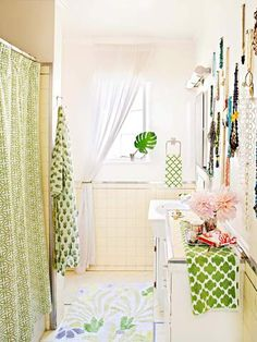 In small, narrow bathrooms, add a slender dresser for additional bathroom storage and extra counter space. Hang a mirror above the dresser to create a makeup vanity and extra primping space for shared bathrooms.