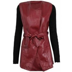 Red Contrast Long Sleeve PU Leather Trench Coat