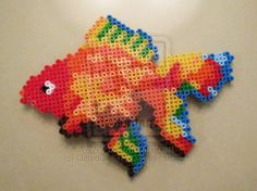 Sprite Gold Fish Beads by on DeviantArt – Bastelideen – Hama Beads Perler Bead Designs, Perler Bead Templates, Hama Beads Design, Diy Perler Beads, Perler Bead Art, Fuse Bead Patterns, Perler Patterns, Beading Patterns, Pixel Beads