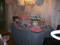favor and desert pink baby and gray shower