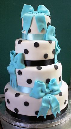 beautiful black white and blue bow cake
