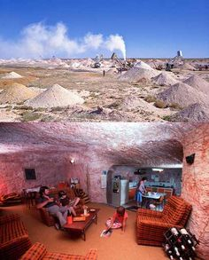 Coober Pedy, Australia - This whole town exists underground! Established in 1915 as an opal-mining town (and is still the biggest opal mine in the world), miners soon realized that it's easier to remain underground since the temperatures aboveground would reach 125 Facrenheit (51 Centigrade)! The town has underground stores, churches, galleries and even the world's first 4-star undeground hotel!