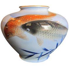 Japanese Fukugawa Vase With Koi Fish Japanese Porcelain, Japanese Pottery, Japanese Art, Vases For Sale, Porcelain Ceramics, Fine Porcelain, Samurai Art, Fish Art, Wildlife Art