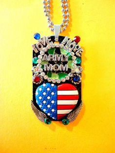 Army Mom Dog Tag Pendant Number 879 by BradosBling on Etsy, $34.99  Bradosbling.com