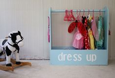 DIY dress-up storage for kids! Made my own version of this for Shayla's costumes.