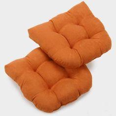 Blazing Needles Microsuede U-Shaped Indoor Chair Cushion - Set of 2 Tangerine Dream - 93184-2CH-MS-TD