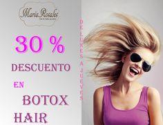 """Durante el mes de AGOSTO, 30% de #DESCUENTO en vuestro tratamiento BTX HAIR.  El tratamiento BTX HAIR hace un efecto """"botox"""" en vuestro #cabello, logrando devolverle la juventud, belleza y brillo de forma inmediata y recuperando hasta los cabellos más dañados."""