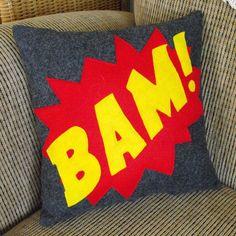 BAM! Superhero pillow by Etsy seller nokomomo