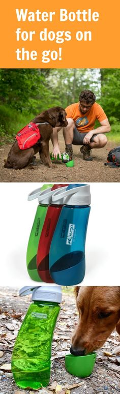The ultimate in water bottles for on-the-go people with adventurous dogs! The main container brings water for both you and your dog. You drink from the top. You detach the bowl and pour water for your adventure companion. Great for walking, hiking, running, or traveling. No need to bring two water sources and no wasting water trying to pour it into your pup's mouth!