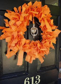 Fall wreath for front door. Add some blue for a great AUBURN decoration.