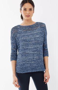 Pure Jill open-stitch relaxed pullover | J.Jill