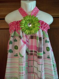 John Deere dress green Pink flower Birthday halter by GinaBellas1, $39.50