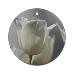 White #Tulips #Ornament (Round) by Lee Hiller #Photography #Nature