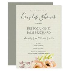ROMANTIC PEACH PINK GREY FLORAL Couples Shower Card - romantic wedding gifts wedding anniversary marriage party