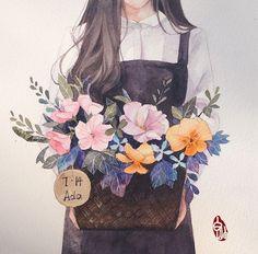 53 Super ideas for anime art watercolor Anime Girl Drawings, Anime Art Girl, Cute Drawings, Art And Illustration, Aesthetic Art, Aesthetic Anime, Desenhos Love, Kawaii Wallpaper, Jolie Photo