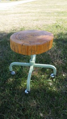 Original Design By Littrell Inc. Handmilled Cottonwood on Repurposed Medical Exam Stool Base .
