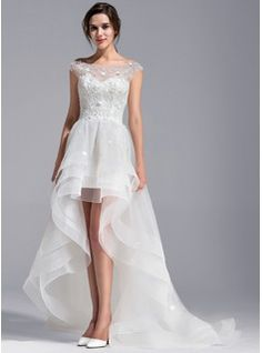 A-Line/Princess Scoop Neck Asymmetrical Beading Flower(s) Zipper Up Covered Button Cap Straps Sleeveless Hall Reception General Plus No Spring Summer Fall Ivory Tulle Lace Wedding Dress