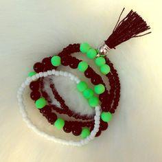 Set of five festival bracelets Tassel black and neon green bracelet set KatDJewelry Jewelry Bracelets