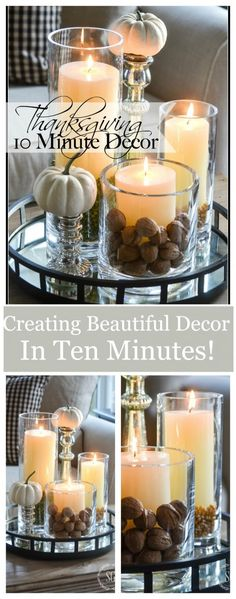 10 MINUTE DECOR- Creating ambiance with creative and beautiful use of candles Diy Thanksgiving Crafts, Thanksgiving Centerpieces, Thanksgiving Parties, Thanksgiving Table, Christmas Tables, Holiday Tables, Mesa Candy Bar, Autumn Decorating, Decorating Ideas