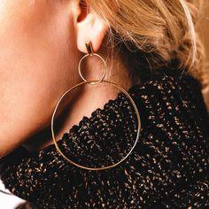 Jordan Gold Tone Geometric Circle Drop Double Hoop Earrings https://www.bettinascollection.com/products/jordan-geometric-drop-earrings