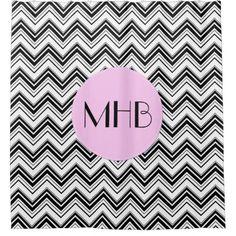 Monogram Zigzag Pattern Chevron Black Pink Shower Curtain