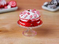 Christmas Cream Cake Decorated with Seasonal by ParisMiniatures